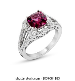 Ring of the jewelry with Rhodolite Garnet  diamond on  White background isolate