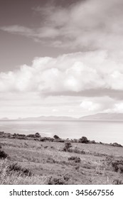Ring of Kerry Coast with Dingle Peninsula, County Kerry; Ireland in Black and White Sepia Tone