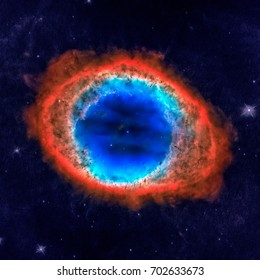 The Ring Nebula or Messier 57 or NGC 6720 is a planetary nebula in the northern constellation of Lyra. Elements of this image furnished by NASA.