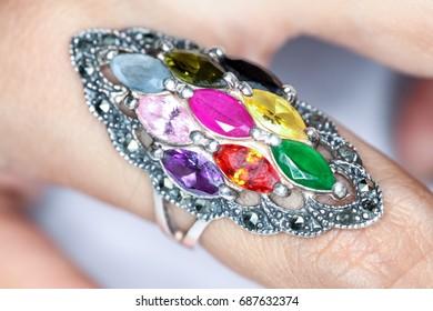 Ring Nine different gems