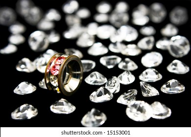 A ring oxette surrounded with many crystals.