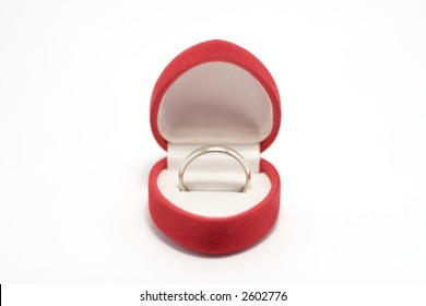 ring in present box on white