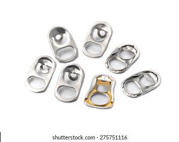 Ring pull of cans isolated on white background.