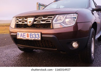 Ring Road, Iceland - October 15, 2017: Dacia Duster in rain in Iceland