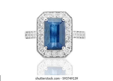 Ring with sapphire and diamonds blue and white in gold  Jewelery with gems