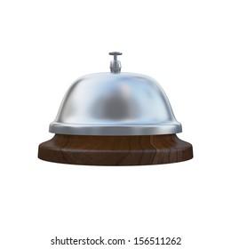 Ring Service Alarm isolated on White background, Wooden base