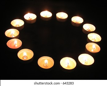 A ring of tea-light candles
