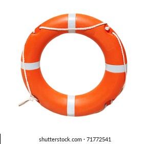A ring-buoy, isolated on white background