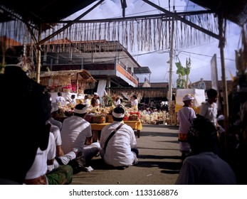 Ringdikit Village, Buleleng Regency, Bali/Indonesia - July 12 2018: The Atmosphere During Ngenteg Linggih Ceremony At Ringdikit Village