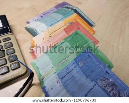 Ringgit Malaysia Notes Various Values Scattered Stock Photo