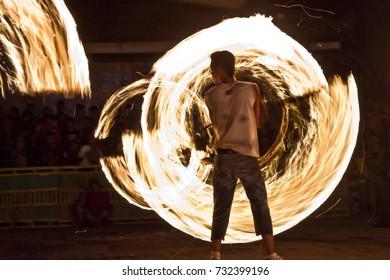 Ringinharjo Subdistrict, Bantul, Yogyakarta - Friday, November 11, 2016 : Spinning the fire in Ed Mubarak celebration.