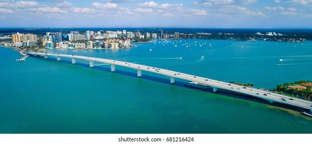 Ringling Bridge Downtown Sarasota Drone Panorama. Sunny Florida with beautiful blue waters.