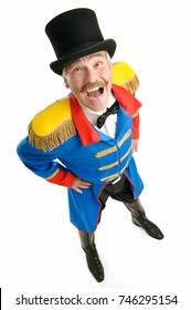 Ringmaster Circus Director, isolated on white background, senior man shouting at you to get you in
