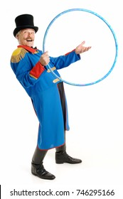 Ringmaster Circus Director, isolated on white background, senior man inviting people to jump through his hoop