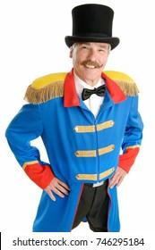Ringmaster Circus Director, isolated on white background,  confident senior man
