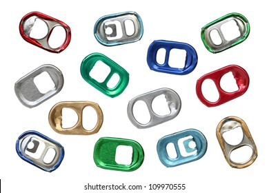 Ring-pulls isolated on a white background.