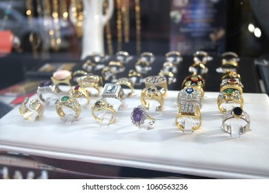 Rings for sale in shop