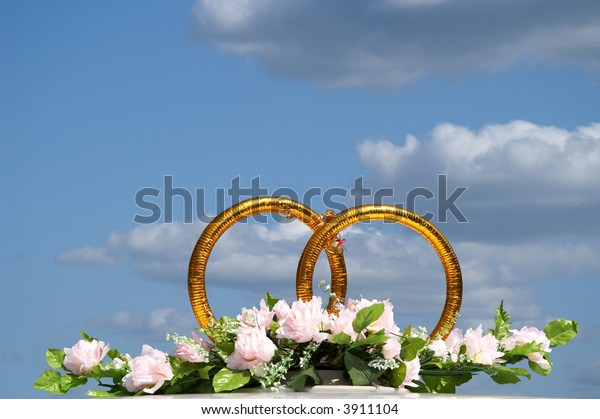 Rings Symbolizing Wedding On Background Lightblue Nature