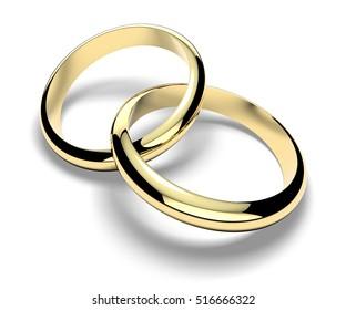 Rings, wedding rings, marriage, family, love. 3d rendering