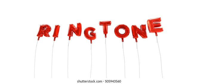 RINGTONE - word made from red foil balloons - 3D rendered.  Can be used for an online banner ad or a print postcard.