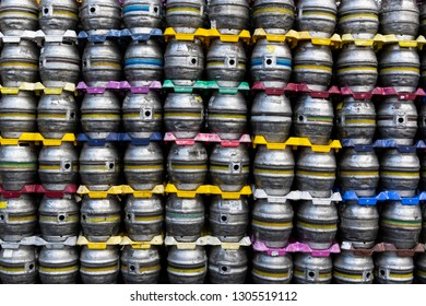 Ringwood, England - October 26, 2018: Production of beer at the Ringwood Brewery with stainless steel barrels .