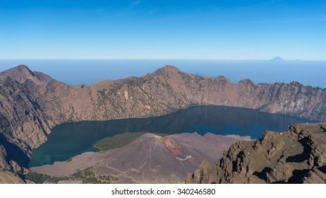 Rinjani volcano mountain crater, Indonesia