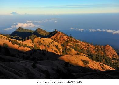 Rinjani Volcano on Lombok, Indonesia.Rinjani mountain is one of the highest mountains in Indonesia.