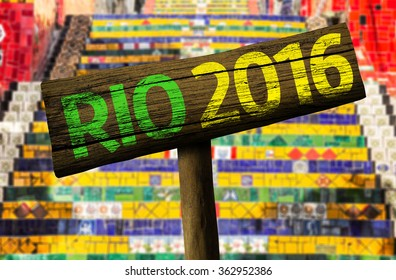 Rio 2016 wooden sign, Brazil