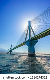 the Rio Antirio bridge or Charilaos Trikoupis bridge, one of the longest cable - stayed bridges of the world, crosses the Gulf of Corinth and linking the Peloponnese with the mainland Greece