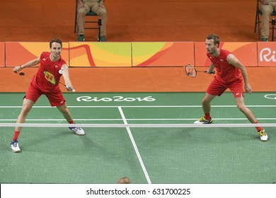 Rio, Brazil, 11 august 2016: The badminton double player BOE Mathias / MOGENSEN Carsten (DEN) when playing against ELLIS Marcus / LANGRIDGE Chris (GRB) during Olympic Games Rio 2016 at Riocentro