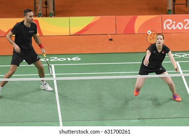 Rio, Brazil, 11 august 2016: Badminton player FISCHER NIELSEN Joachim / PEDRESES Christinna (DEN) when playing against MATEUSIAK Robert /ZIEBA Nadiezda (POL) during Olympic Games Rio 2016 at Riocentro