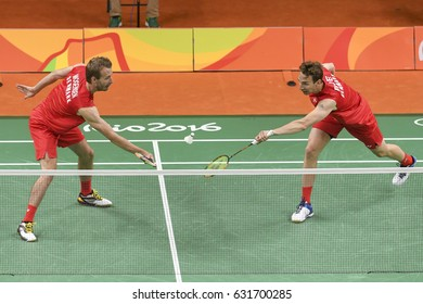 Rio, Brazil, 11 august 2016: The badminton double player BOE Mathias/MOGENSEN Carsten (DEN) when playing against ELLIS Marcus/LANGRIDGE Chris (GRB) during Olympic Games Rio 2016 at Riocentro Pavillon