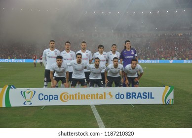 Rio, Brazil –SEPTEMBER 13 2018: -   Corinthians photo position in  match between Flamengo  and Corinthians  by the Brazilian Cup  in Maracana Stadium