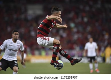 Rio, Brazil –setember 13 2018: -  Diego player in match  match between Flamengo  and Corinthians  by the Brazilian Cup  in Maracana Stadium