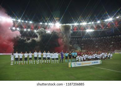 Rio, Brazil –SEPTEMBER 13 2018: -   match  match between Flamengo  and Corinthians  by the Brazilian Cup  in Maracana Stadium