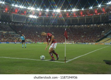 Rio, Brazil –SEPTEMBER 23, 2018: -  match between Flamengo  and Atlético MG    by the Brazilian championship in Maracana Stadium