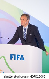 Rio, Brazil - April 14, 2016: Director of FIFA competitions, Colin Smith, during the Aquece Rio draw of football keys to the Olympics in 2016 Test Event at Maracana