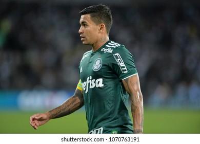 Rio, Brazil - april 16, 2018: Dudu player in match between Botafogo and Palmeiras by the Brazilian Championship in Nilton Santos Stadium