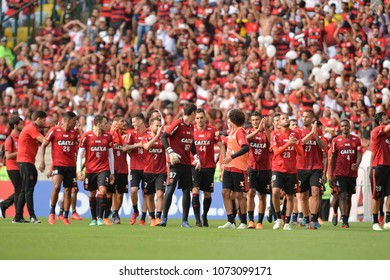 Rio, Brazil - april 17, 2018: training of the Flamengo team preparing for the Libertadores Cup game this Wednesday at Maracana against Santa Fe