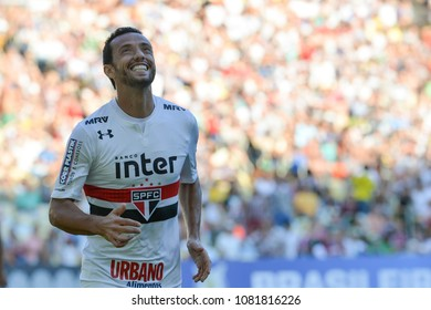 Rio, Brazil - april 29, 2018: Nene player in match between Fluminense and Sao Paulo by the Brazilian Championship in Maracana Stadium