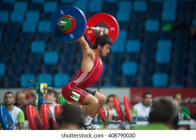 Rio, Brazil - April 4, 2016: SOTO MONTECINO Eduardo (CHI) in the male category during the Aquece Rio Weightlifting Test Event at the Arena Carioca 1