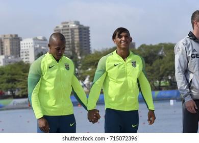 Rio, Brazil. Aug 20, 2016. SOUZA SILVA and QUEIROZ SANTOS (silver medal) during Men's Canoe Double 1000m podium at the Rio2016 Summer Olympic Games
