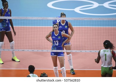 Rio, Brazil - august 06, 2016: CASTRO de PAULA BLASSIOLI Sheilla (BRA) during volleyball game Brazil (BRA) vs Cameroon (CMR) in maracanazinho in the Olympics Games Rio 2016 by the group phase