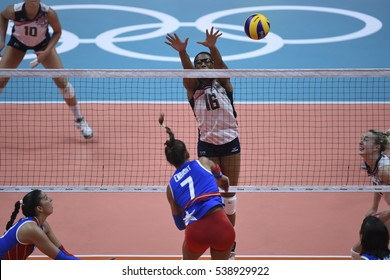 Rio, Brazil - august 06, 2016: AKINRADEWO Foluke  (USA) during volleyball game United States (USA) vs Puerto Rico (PUR) in maracanazinho in the Olympics Rio 2016 by the group phase