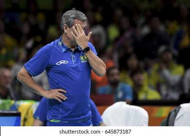 Rio, Brazil - august 06, 2016: Coach Jose Roberto Guimaraes (BRA) during volleyball game Brazil (BRA) vs Korea (KOR) in maracanazinho in the Olympics Rio 2016 by the group phase