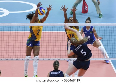 Rio, Brazil - august 08, 2016:  BARRETO Juciely (BRA) and RODRIGUES Fernanda (BRA) during volleyball game Brazil (BRA) vs Argentina (ARG) in maracanazinho in the Olympics Rio 2016 by the group phase