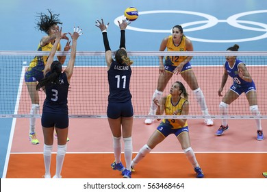 Rio, Brazil - august 08, 2016:  xxxxxx during volleyball game Brazil (BRA) vs Argentina (ARG) in maracanazinho in the Olympics Rio 2016 by the group phase