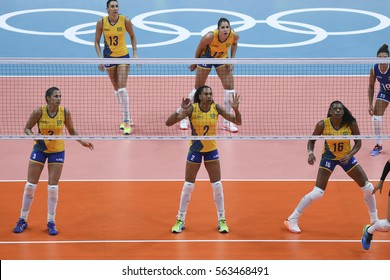 Rio, Brazil - august 08, 2016:  BARRETO Juciely (BRA) during volleyball game Brazil (BRA) vs Argentina (ARG) in maracanazinho in the Olympics Rio 2016 by the group phase