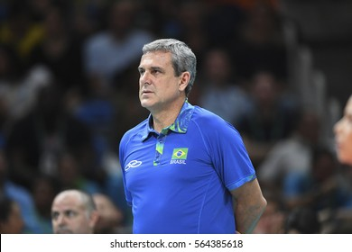 Rio, Brazil - august 08, 2016:  Coach Jose Roberto Guimaraes (BRA) during volleyball game Brazil (BRA) vs Argentina (ARG) in maracanazinho in the Olympics Rio 2016 by the group phase
