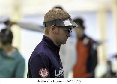 Rio, Brazil - august 10, 2016: BROWN Will (USA) during shooting 50m Pistol Men Shooting at Olympic Games 2016 in Olympic Shooting Centre, Deodoro